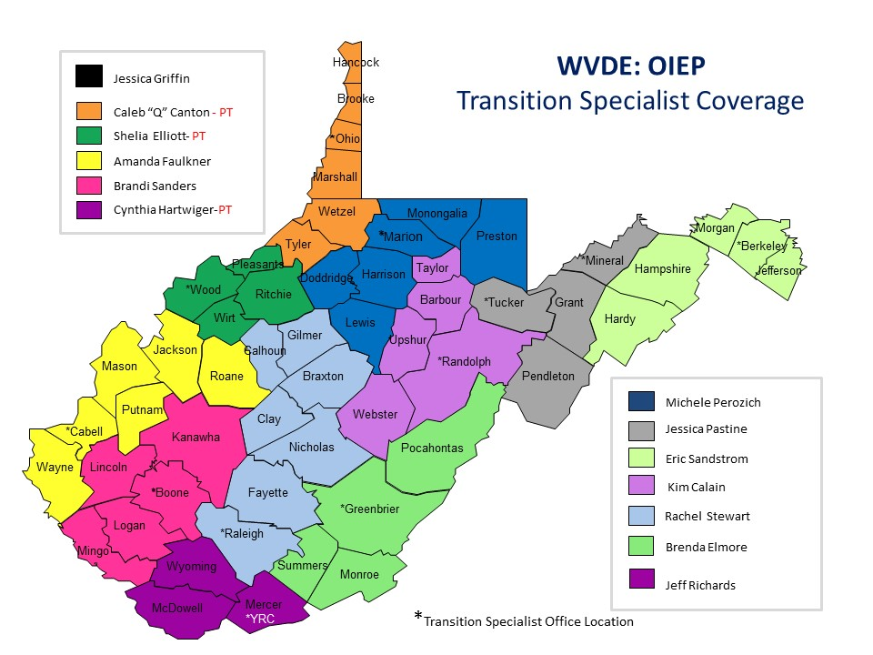WV Transition Specialist Coverage Map 2016