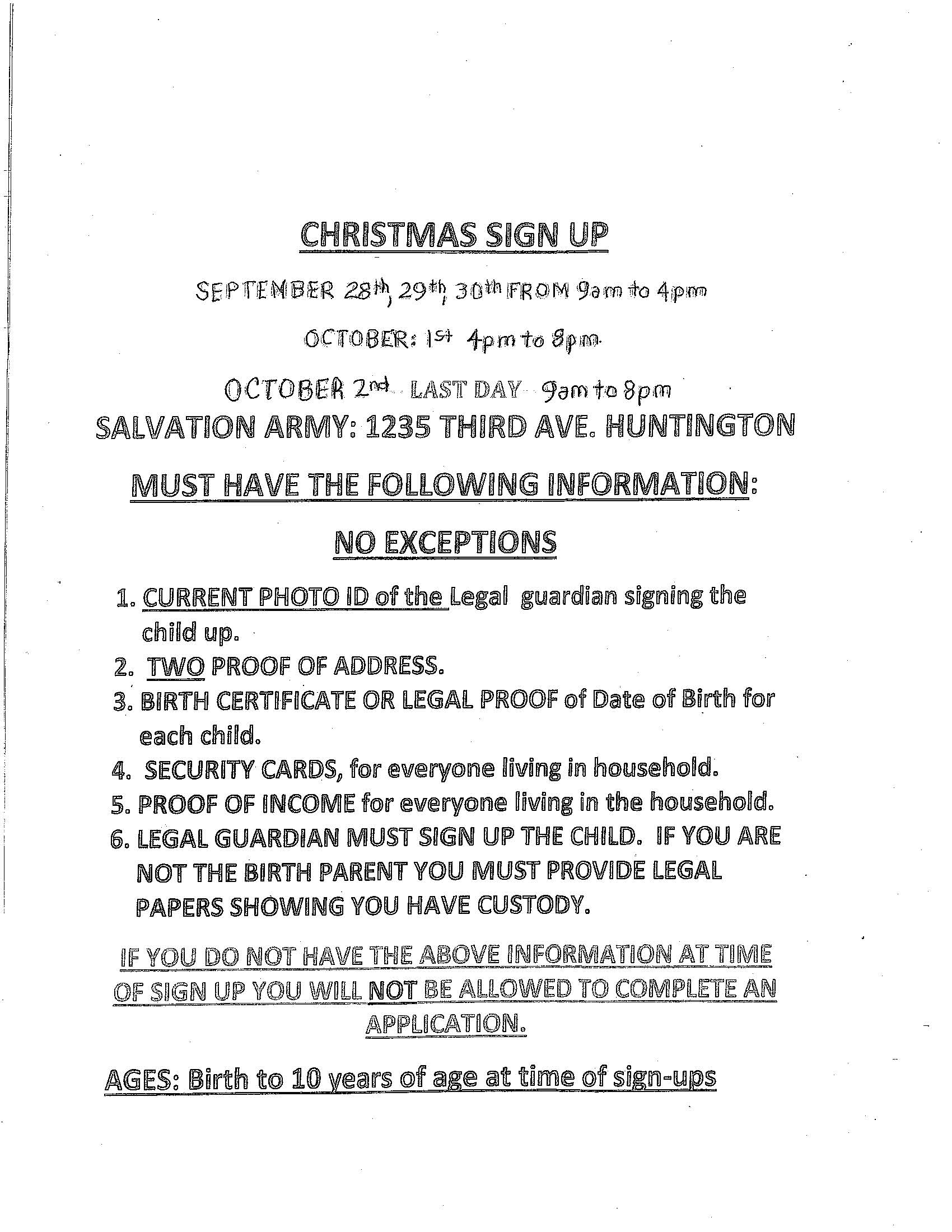 Salvation Army Christmas Sign up 9-28 to 10-2-15
