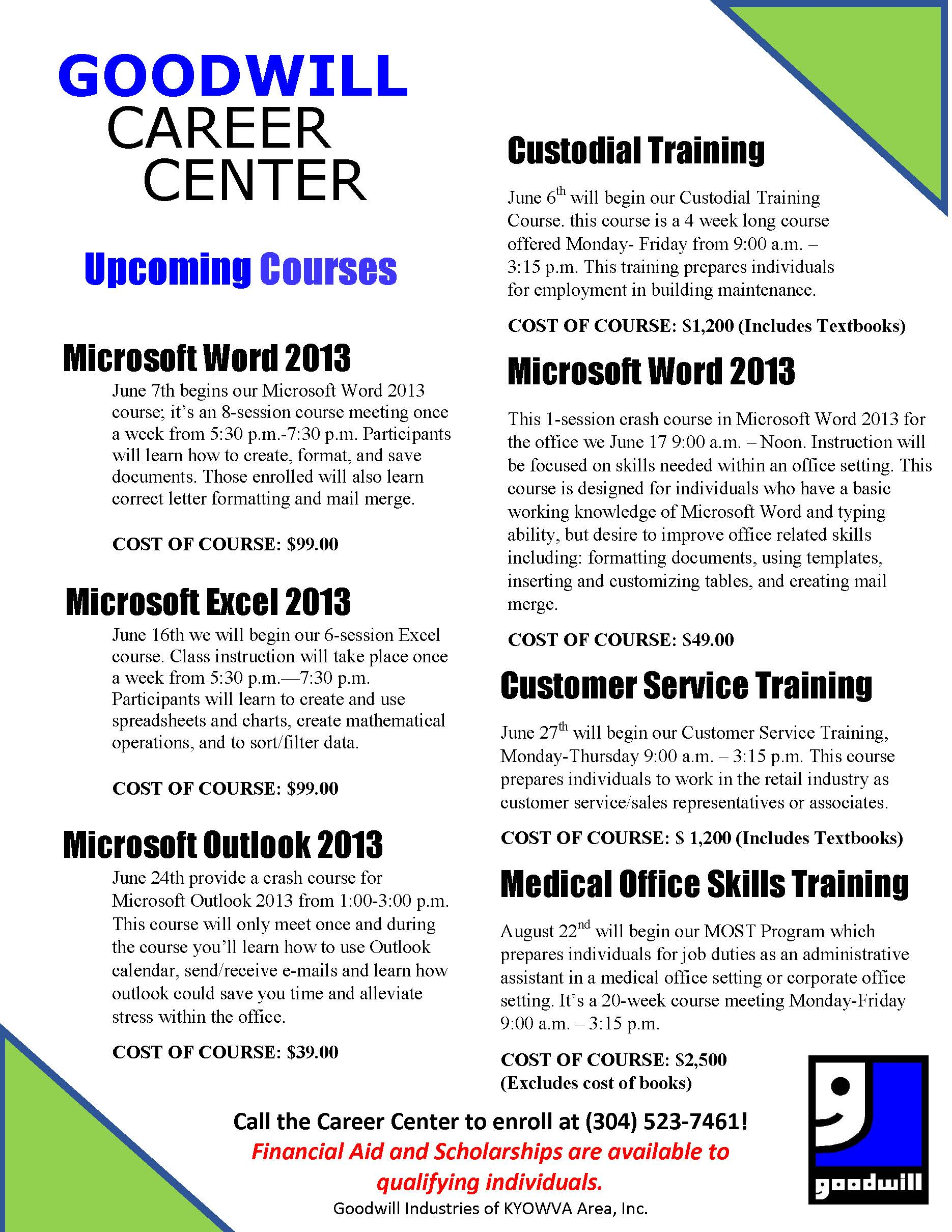 Goodwill Upcoming Courses