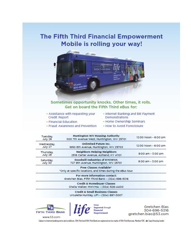 Fifth Third e-Bus schedule July 2016