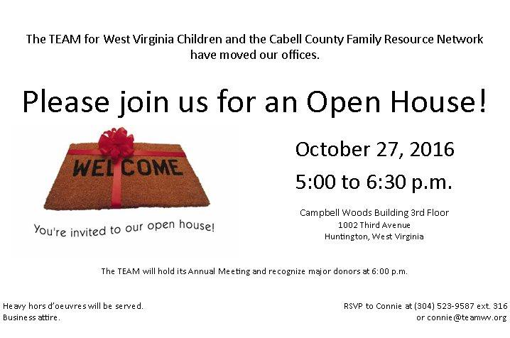 TEAM for WV Children & Cabell FRN Open House Oct  27