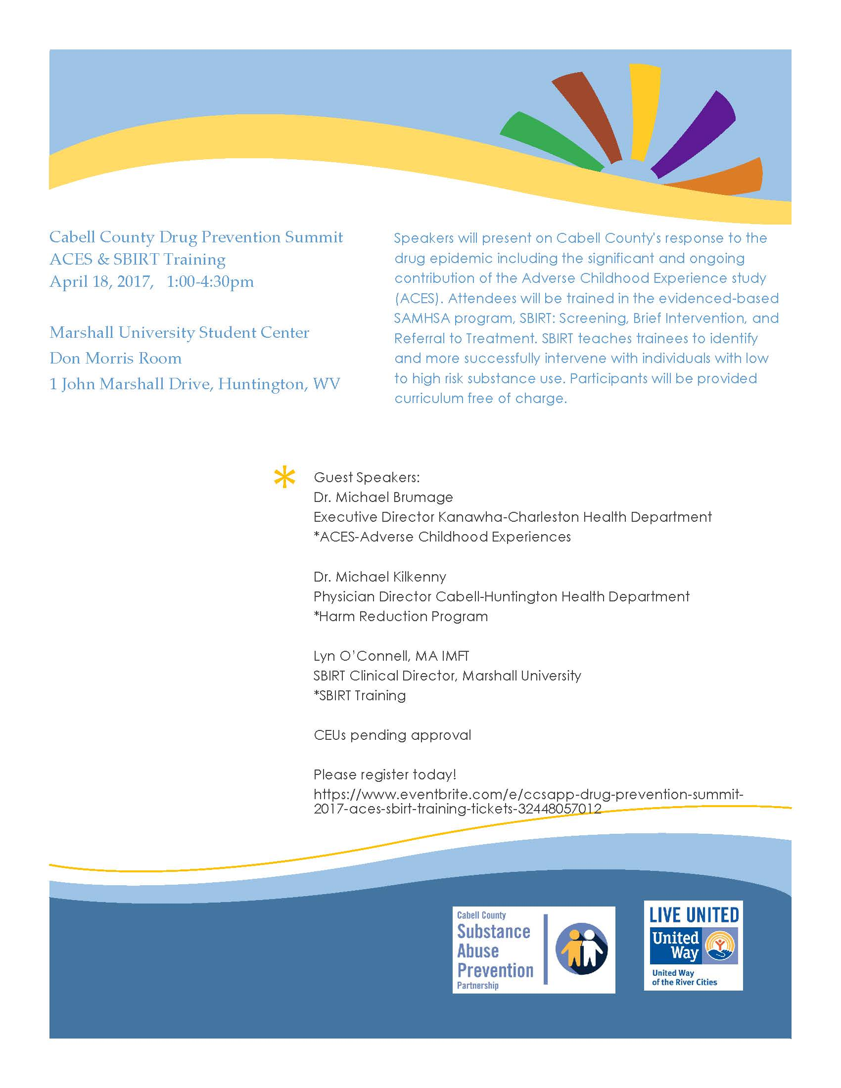 CCSAPP Drug Prevention Summit 2017–ACES & SBIRT Training Description