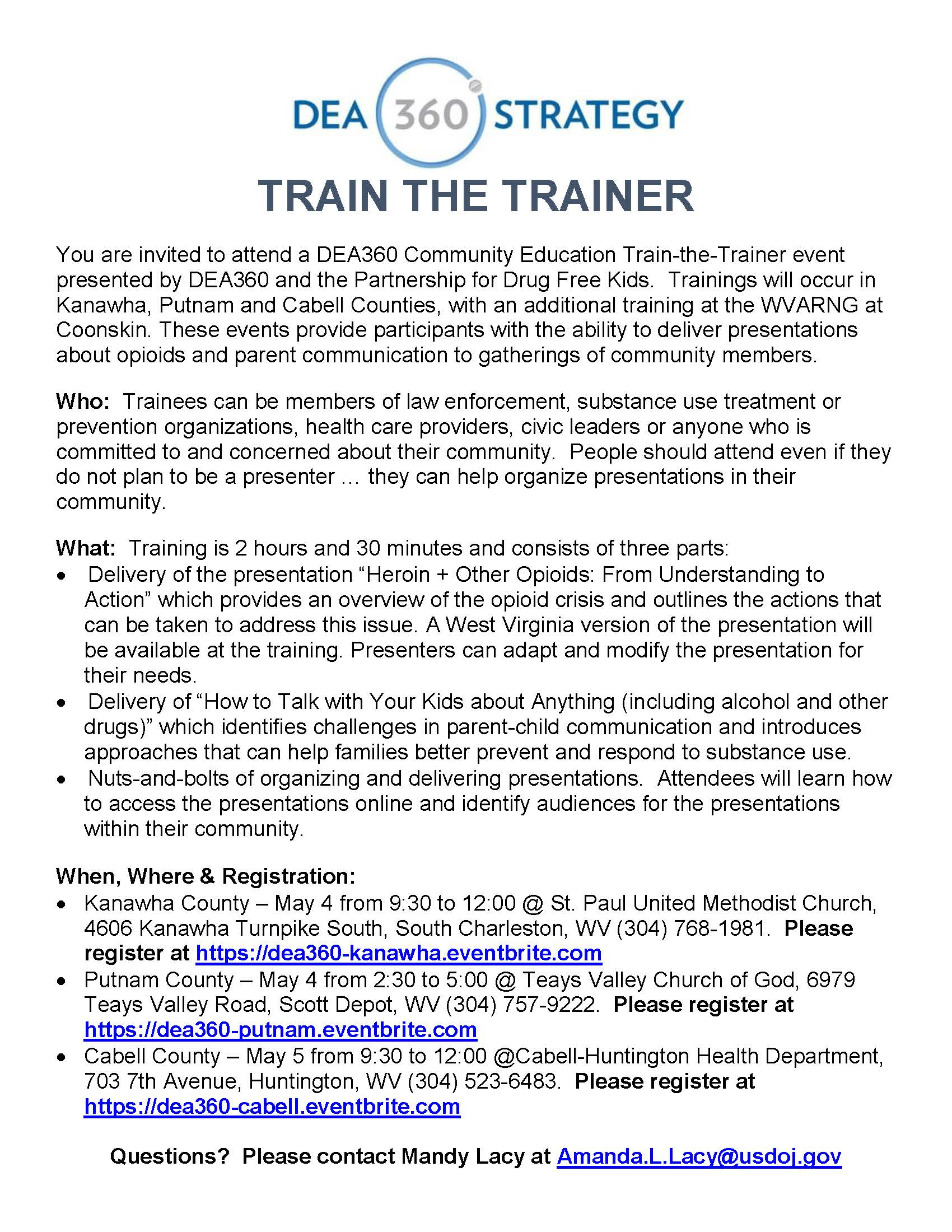 DEA 360 Train the Trainer – May 5 in Cabell County