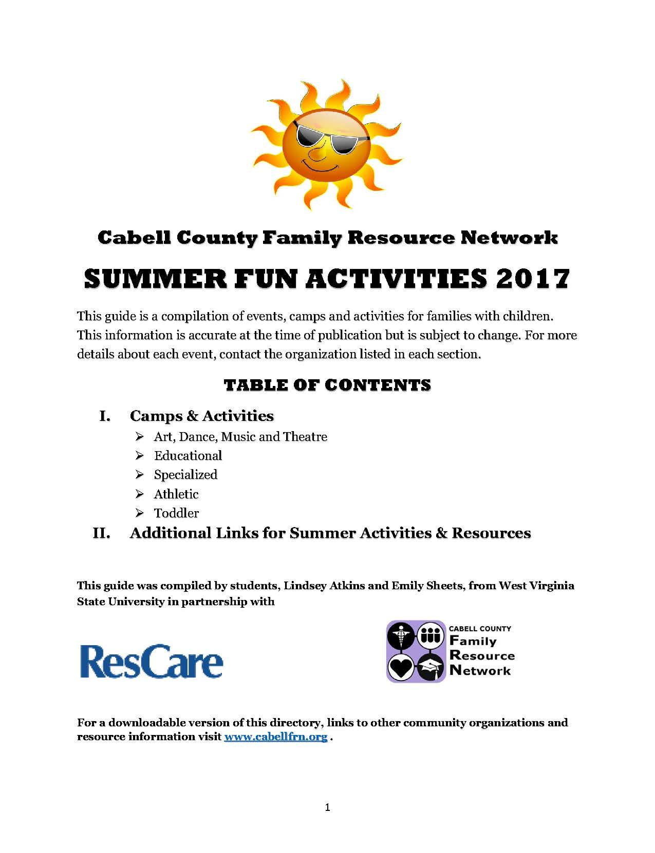 Looking for summer fun for your little one? View our Summer Fun Activity  Guide below, or CLICK HERE to download a PDF with active hyperlinks.
