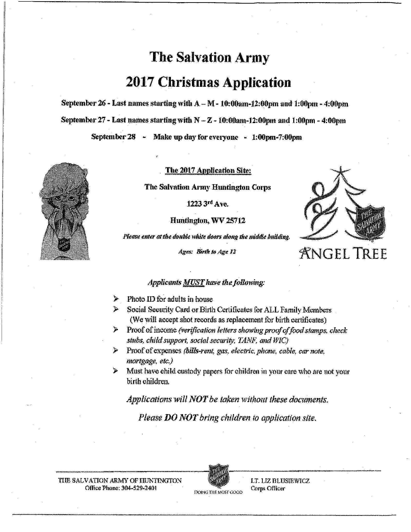 2017 salvation army christmas sign ups sept 26 27 28 download pdf printable flyer