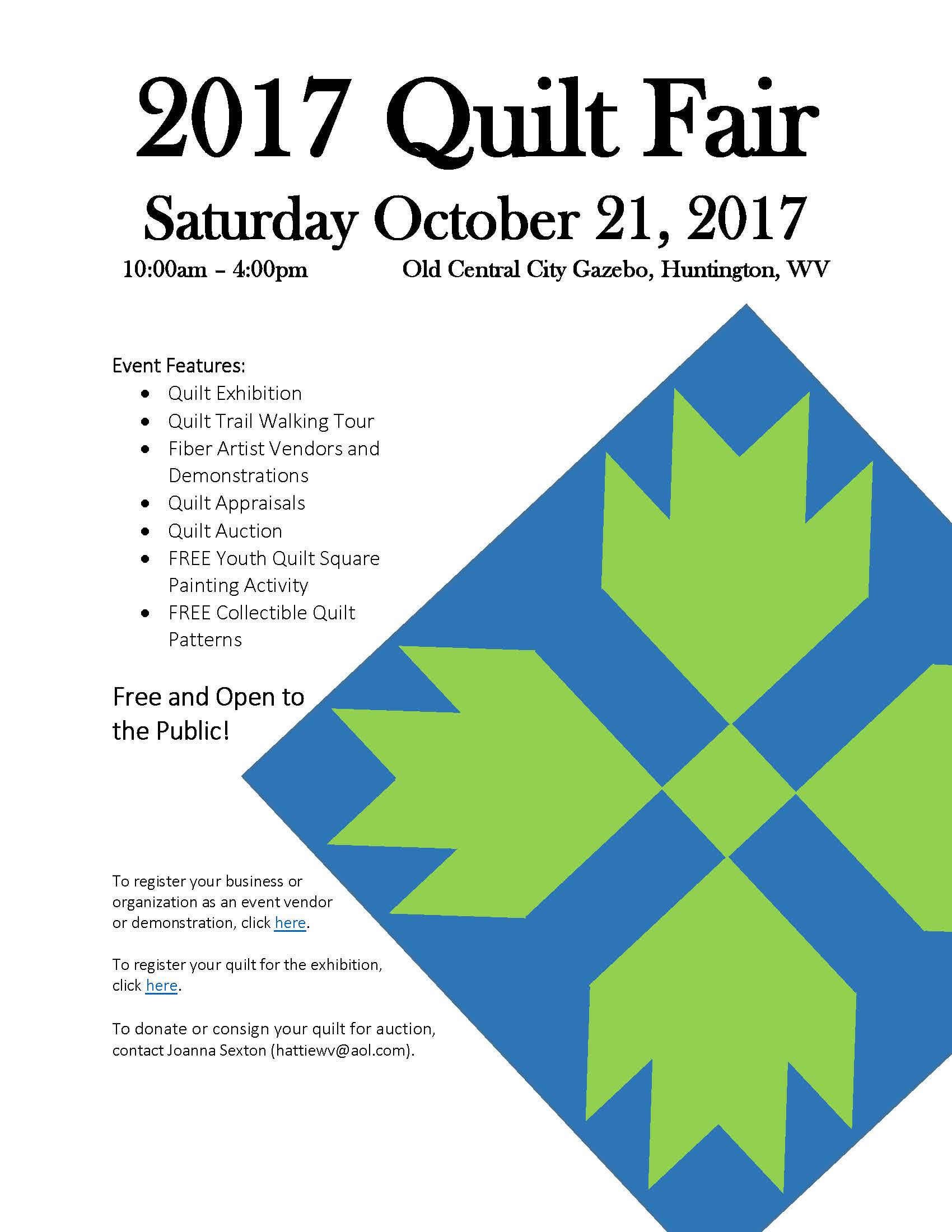 Event: 2017 Quilt Fair – October 21 – Cabell County Family
