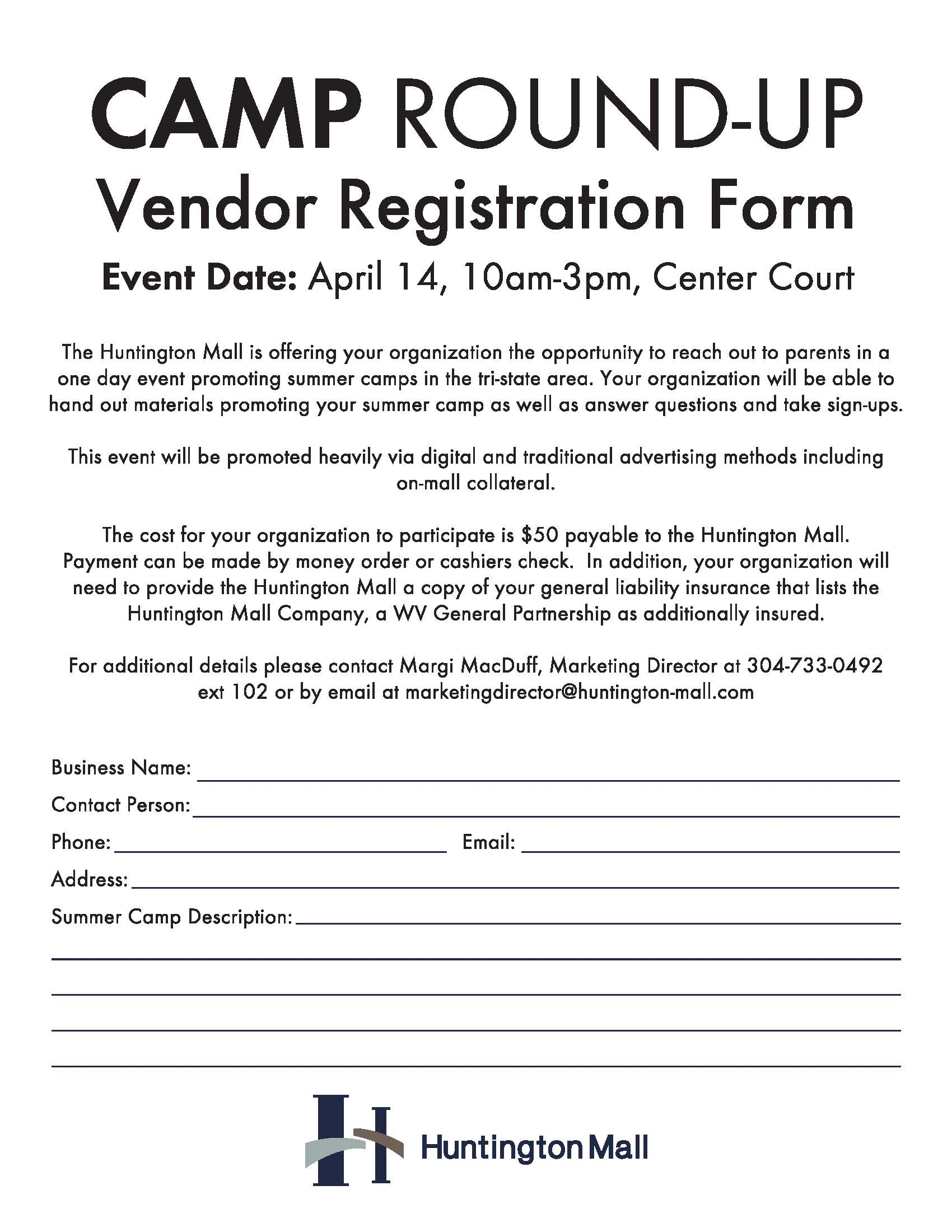 Event Camp Round Up at the Huntington Mall on April 14