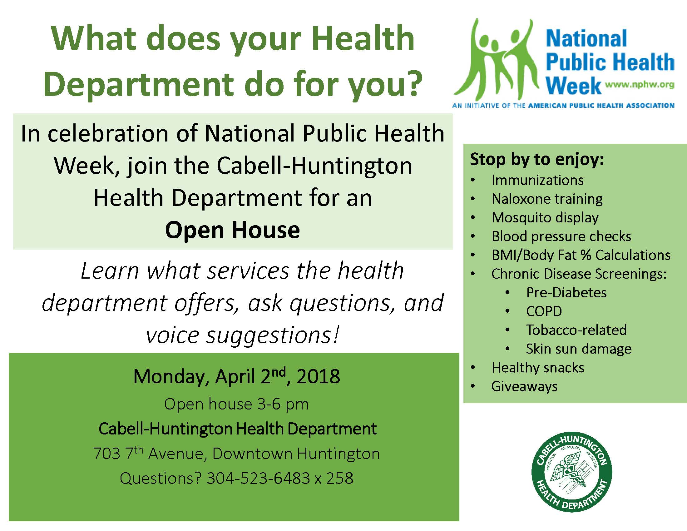 Open House at Cabell Co  Health Dept  for National Public
