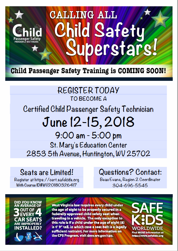 We Have Now Scheduled The CPST Course For Huntington Region Flyer Is Attached To This E Mail That Has All Details On How Register